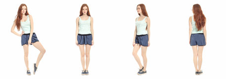 Full length portrait of happy teenager girl Royalty Free Stock Images