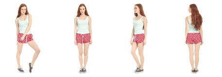 Full length portrait of happy teenager girl Royalty Free Stock Photography