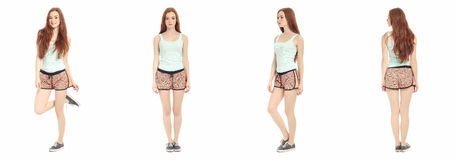 Full length portrait of happy teenager girl Royalty Free Stock Photos