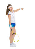 Full length portrait of happy tennis player Stock Photos