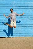 Young Man Jumping in Summer royalty free stock photography