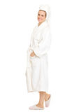 Full length portrait of happy woman in bathrobe Stock Images