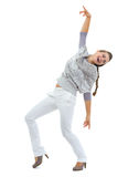 Full length portrait of happy young woman in sweater dancing Stock Photography