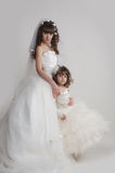 The bride and the little girl Royalty Free Stock Images