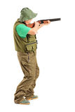 Full length portrait of a hunter with a rifle Royalty Free Stock Image
