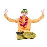 Man doing yoga exercises Royalty Free Stock Image