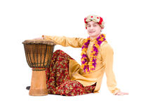 Full length portrait of indian man with a drum Royalty Free Stock Photos