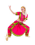Full length portrait of indian woman dancing Stock Photo