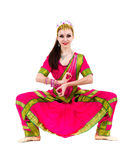 Full length portrait of indian woman dancing Royalty Free Stock Image