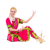Full length portrait of indian woman dancing Stock Image
