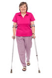 Full length portrait of an injured senior woman Royalty Free Stock Image