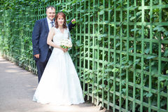 Full length portrait of just merried couple Stock Photos