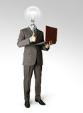 Full length portrait of lamp-head with laptop. Full length portrait of lamp-head businessman with laptop, showing welldone Stock Photography