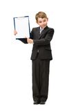 Full-length portrait of little business man with folder. Full-length portrait of little manager showing folder, isolated on white. Concept of leadership and Royalty Free Stock Images