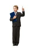 Full-length portrait of little businessman with blue folder. Full-length portrait of attention gesturing little businessman with folder, isolated on white royalty free stock image