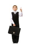 Full length portrait of little businessman with case Stock Images