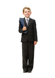Full length portrait of little businessman with folder Stock Images