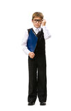 Full-length portrait of little businessman with folder Royalty Free Stock Photography