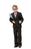 Full-length portrait of little businessman in glasses. Keeping folder, isolated on white. Concept of leadership and success stock image