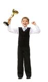 Full-length portrait of little businessman with gold cup Royalty Free Stock Images