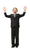 Full-length portrait of little businessman with hands up Stock Images