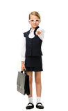 Full-length portrait of little businesswoman with case in glasses Stock Image