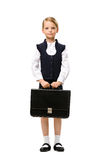 Full-length portrait of little businesswoman with case Royalty Free Stock Image