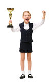 Full-length portrait of little businesswoman with cup Royalty Free Stock Image
