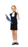 Full-length portrait of little businesswoman with folder Stock Photos