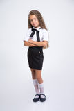 Full length portrait of a little school girl Royalty Free Stock Photos