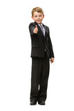 Full-length portrait of little thumbing up businessman Stock Photo