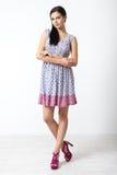 Full-length portrait of lovely woman in romantic dress Stock Images