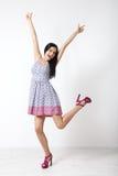 Full-length portrait of lovely woman in romantic dress Stock Photo