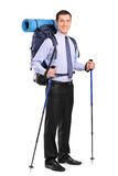 Full length portrait of a man with backpack Stock Photos