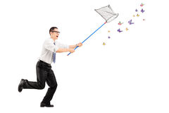Full length portrait of a man catching butterflies with net Royalty Free Stock Photography