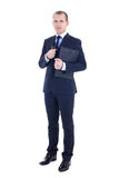 Full length portrait of man reporter in suit with microphone and. Clipboard isolated on white background Royalty Free Stock Photos