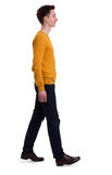 Full length portrait of a man walking. Isolated. On white background royalty free stock images