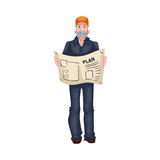 Full length portrait of mature Caucasian foreman holding a plan Royalty Free Stock Image