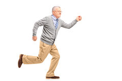 Full length portrait of a mature gentleman running Stock Photography