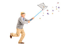 Full length portrait of a mature man running and catching butterflies Royalty Free Stock Images