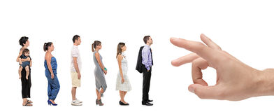 Full length portrait of men and women standing Royalty Free Stock Photo