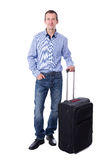 Full length portrait of middle aged business man with suitcase i Royalty Free Stock Images