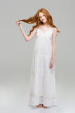 Full Length Portrait Of A Happy Redhead Woman In Dress Stock Photo