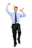 Full length portrait of a party person celebrating Royalty Free Stock Photos