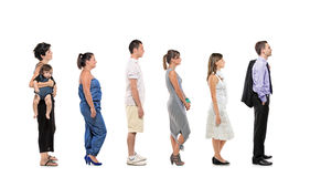 Full length portrait of people in a line royalty free stock photos