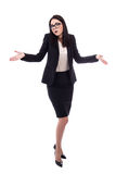 Full length portrait of pretty business woman shrugs shoulders w Stock Images