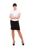 Full-length portrait of pretty businesswoman. Isolated on white background royalty free stock image
