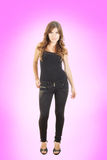Full length portrait of pretty girl in casual black clothes stock images