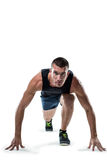 Full length portrait of runner ready to race Royalty Free Stock Photography