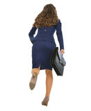 Full length portrait of running business woman with briefcase Royalty Free Stock Image